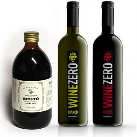 Conf. 1 bottigli1 Rosso Dry + 1 bottiglie Bianco Dry + 1 Amarò
